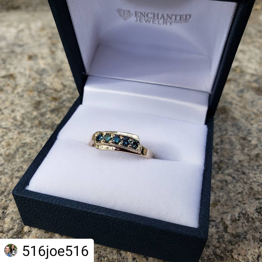 Enchanted Jewelry - custom by Joe - handmade_by_Joe__yellow_gold_and_blue_diamonds.jpg - brand name designer jewelry in Plainfield, Connecticut